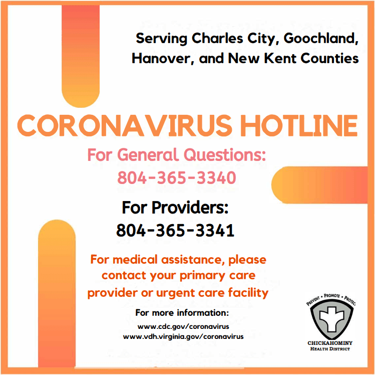Chickahominy COVID-19 Hotline Flyer