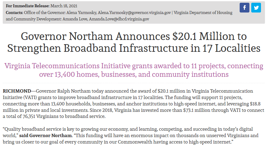Governor Northam - 20.1M VATI Broadband Award 3-18-2021
