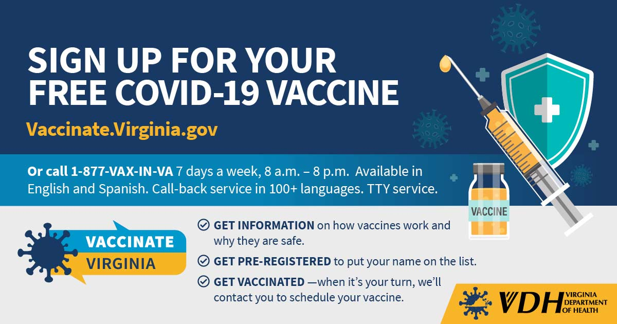 VDH Vaccinate Virginia Sign Up